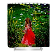 Girl By Lily Pond Shower Curtain