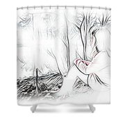 Girl By The Pond Shower Curtain