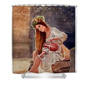 Girl By Water Spring Shower Curtain