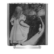 Girl Chasing Goose Shower Curtain