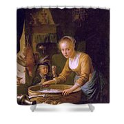 Girl Chopping Onions Shower Curtain
