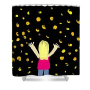Girl Dancing With Fireflies Shower Curtain