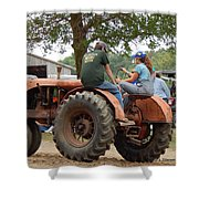 Girl Driving A Tractor Shower Curtain