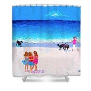 Girl Friends - Beach Painting Shower Curtain
