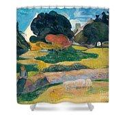 Girl Herding Pigs Shower Curtain by Paul Gauguin