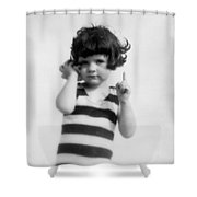 Girl Holding Seashell To Ear, C.1920s Shower Curtain