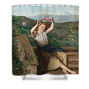 Girl Holding Up A Wreath Of Roses Shower Curtain