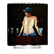 Girl In A Barn Shower Curtain