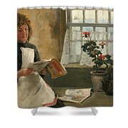 Girl In A Cottage Window Shower Curtain