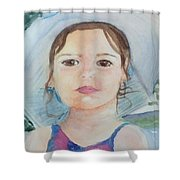 Girl In A Hat Portrait Shower Curtain