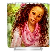 Girl In A Pink Dress Shower Curtain