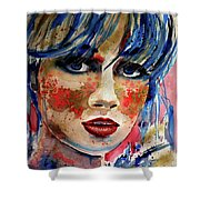 Girl In Blue And Gold Shower Curtain