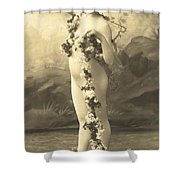 Girl In Body Stocking Holding Garland Of Flowers Shower Curtain