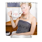 Girl In Cafe Serving Hot Coffee With Heart Teapot Shower Curtain