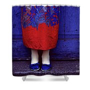 Girl In Colorful Flower Dress Shower Curtain