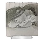 Girl In Deep Thoughts Shower Curtain