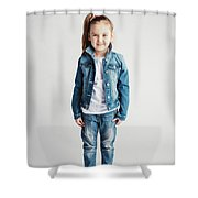 Girl In Jeans Clothes On White Background. Shower Curtain