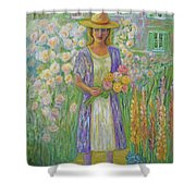 Girl In Monet's Garden At Giverny Shower Curtain