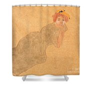 Girl In Olive Coloured Dress With Propped Arm Shower Curtain