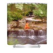 Girl In Orange Shower Curtain
