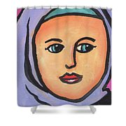 Girl In Purple Scarf Shower Curtain