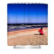 Girl In Red Dress Shower Curtain