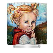 Girl In Red Jumper Shower Curtain
