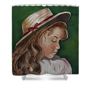 Girl In Ribboned Straw Hat Shower Curtain
