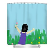 Girl In The Field Of Flowers Shower Curtain