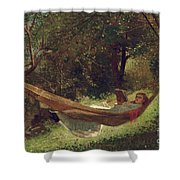 Girl In The Hammock Shower Curtain by Winslow Homer