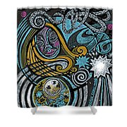 Girl In The Moon Shower Curtain