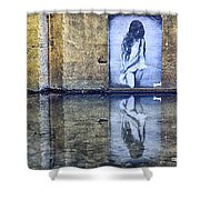 Girl In The Mural Shower Curtain