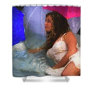 Girl In The Pool 1 Shower Curtain