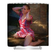 Girl In The Pool 10 Shower Curtain