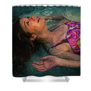 Girl In The Pool 11 Shower Curtain