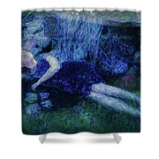 Girl In The Pool 12 Shower Curtain