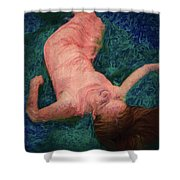 Girl In The Pool 14 Shower Curtain