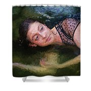 Girl In The Pool 15 Shower Curtain