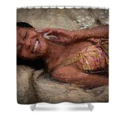 Girl In The Pool 18 Shower Curtain