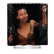 Girl In The Pool 19 Shower Curtain