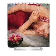 Girl In The Pool 2 Shower Curtain