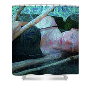 Girl In The Pool 23 Shower Curtain