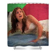 Girl In The Pool 3 Shower Curtain