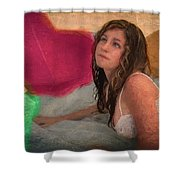 Girl In The Pool 4 Shower Curtain
