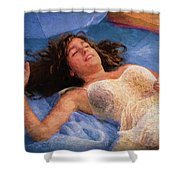 Girl In The Pool 5 Shower Curtain