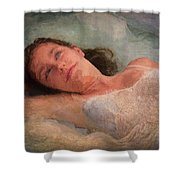 Girl In The Pool 8 Shower Curtain