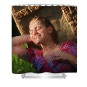 Girl In The Pool 9 Shower Curtain