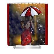 Girl In The Rain  Shower Curtain