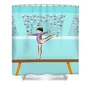 Girl Jumps On One Foot On The Balance Beam Shower Curtain