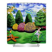 Girl On A Bike Shower Curtain